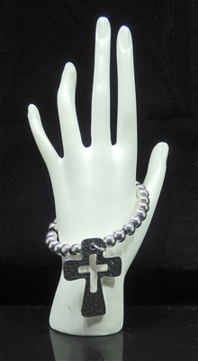 BR1109 SILVER HAMMERED BEADED CROSS BRACELET
