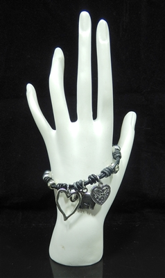 BR1110 SILVER ANTIQUE HEARTS&ELEPHANT CHARMS BRACELET