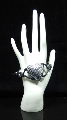 BR2010 ANTIQUE SILVER HEART BLACK BRACELET
