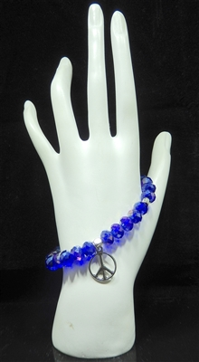BR2403 BEADED PEACE SIGN STRETCH BRACELET
