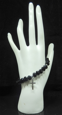 BR2543 BEADED CROSS STRETCH BRACELET