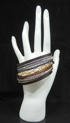 BR3009 7 LAYER CRYSTAL BROWN MAGNETIC BRACELET