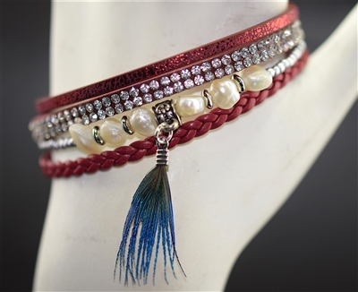 BR6400 4 Layer Rhinestone Feather RED Magnetic Bracelet