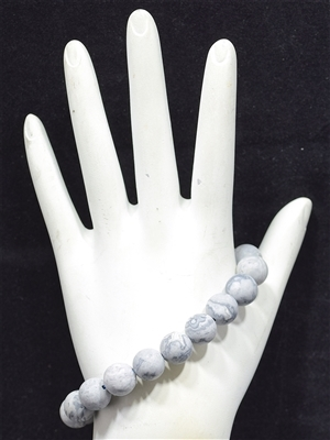 BRS049 10MM LIGHT GRAY STONE BRACELET