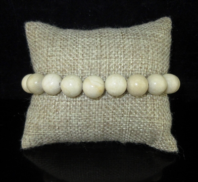 BRS058 10MM POLISHED IVORY STONE BRACELET