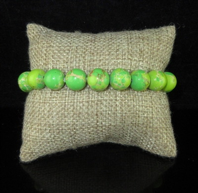 BRS066 10MM POLISHED MARBLED LIME GREEN STONE BRACELET3