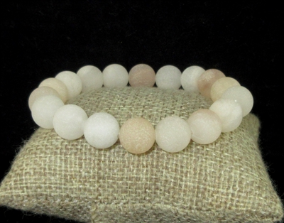 BRS067 8MM SOFT PALE PEACH STONE BRACELET