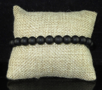 BRS069 6MM NATURAL STONE BEADED BRACELET