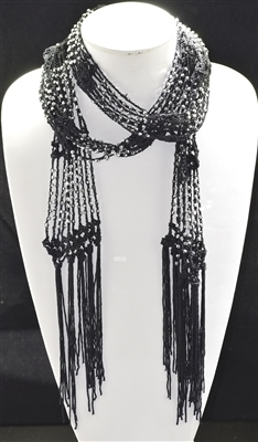 BSC001 KNIT BEADED SCARVES-OPEN END