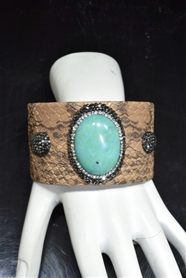 CB100 AQUA STONE BROWN SNAKE SKIN CLAY DRUZY BANGLE