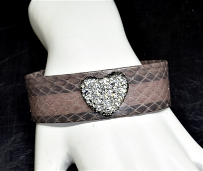 CB103 RHINESTONE HEART BROWN SNAKE SKIN BANGLE