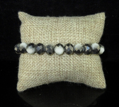 CB10BKWH TWO TONE BLACK AND WHITE CRYSTAL BRACELET