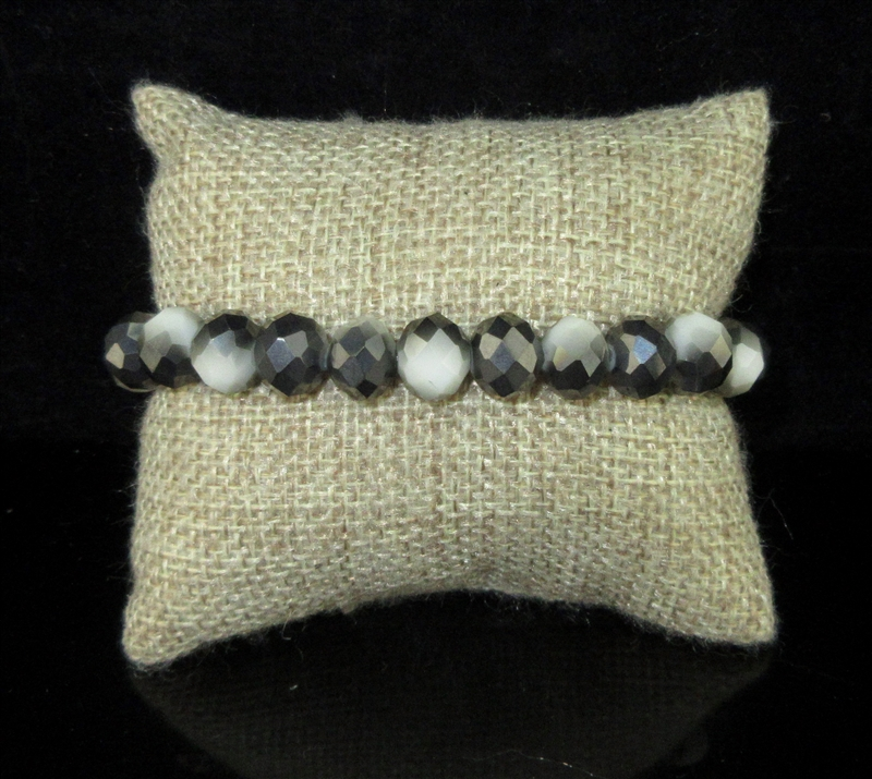 CB10BKWH 10MM TWO TONE BLACK AND WHITE CRYSTAL BRACELET