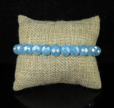 CB10BYB 10MM BABY BLUE SOLID CRYSTAL BRACELET