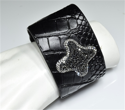 CB111 RHINESTONE CROSS BLACK SNAKE SKIN CLAY DRUZY BANGLE