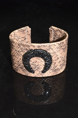 CB117 CRESCENT BROWN SNAKE SKIN BANGLE