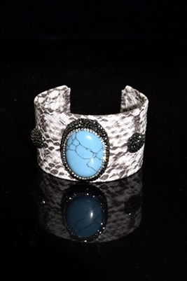 CB120 TURQUOISE STONE SNAKE SKIN THICK BANGLE