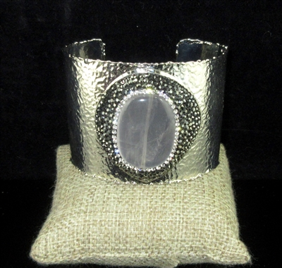 CB306 HEMATITE CRYSTAL CLEAR GRAY STONE HAMMERED CUFF BANGLE