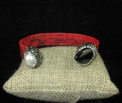 CB309 RED SNAKE SKIN AND PEARL CUFF BANGLE