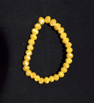 CB8MY 8MM CRYSTAL MUSTARD YELLOW BRACELET