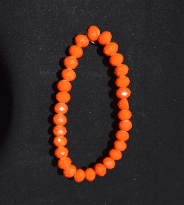 CB8OR 8MM CRYSTAL ORANGE BEADED BRACELET