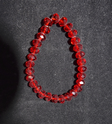 CB8RR 8MM CRYSTAL RUBY RED BRACELET