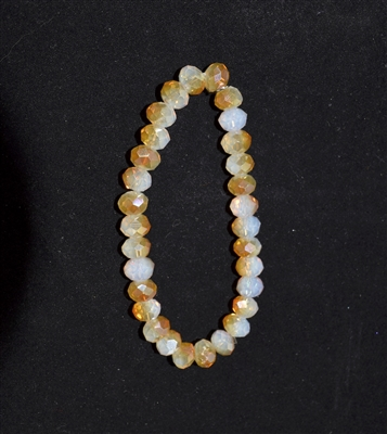 CB8TW 8MM TWO-TONE WHITE/BROWN CRYSTAL BRACELET