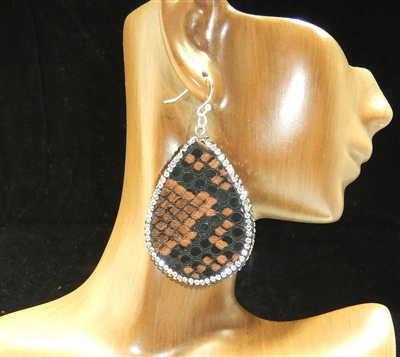 CD125 CLAY DRUZY SNAKESKIN EARRINGS