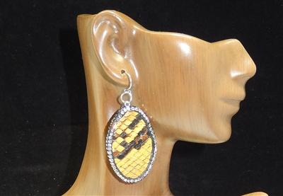 CD131 CLAY DRUZY SNAKESKIN EARRINGS