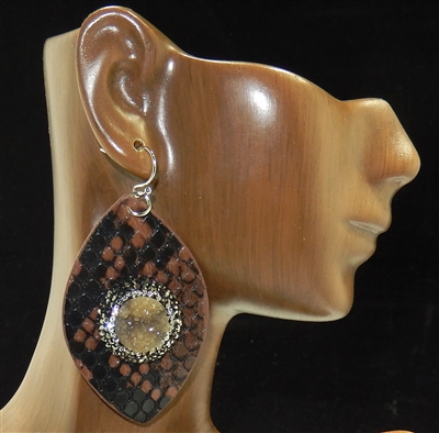 CD151 CLAY DRUZY TEARDROP LEATHER EARRINGS
