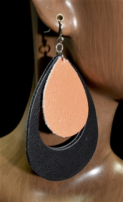 CE1116 ANTIQUE LEATHER TEARDROP EARRINGS