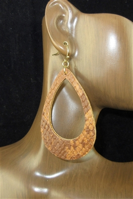 CE1122 OPEN TEARDROP SNAKE SKIN LEATHER EARRINGS