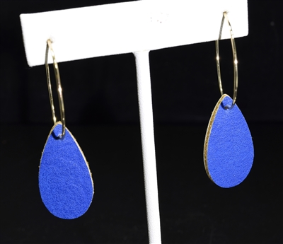 CE1550 TEARDROP LEATHER HOOP EARRINGS