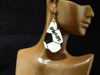 "CE1772 SOCCER ""MOM"" LEATHER EARRING"