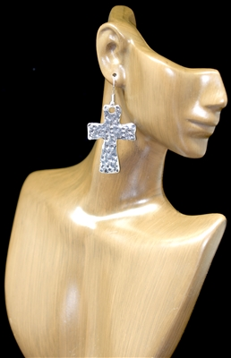 CE3963 HAMMERED CROSS EARRINGS