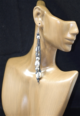 CE4211 HAMMERED BEADS TRIPLE STRAND EARRINGS