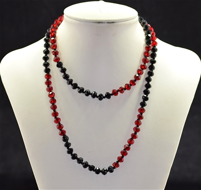 CN368BKRD 36'' 8MM RED & BLACK CRYSTAL NECKLACE