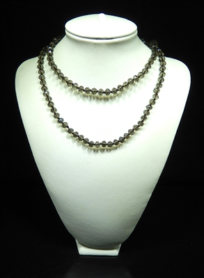 CN368CBD 36'' 8MM CLEAR BLACK CRYSTAL NECKLACE