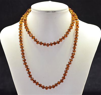 CN368CDB 36'' 8MM DARK BROWN CRYSTAL NECKLACE
