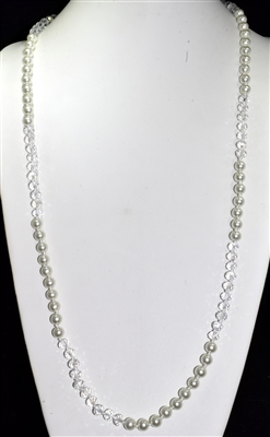 "CN368CRPR 36"" 8MM CLEAR CRYSTAL & PEARL NECKLACE"