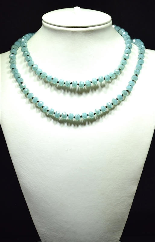 "CN368GBB 36"" 8MM BABY BLUE CRYSTAL NECKLACE"