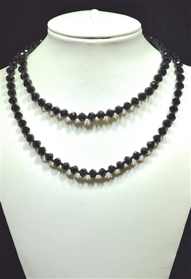 "CN368GBK 36"" BLACK CRYSTAL NECKLACE"