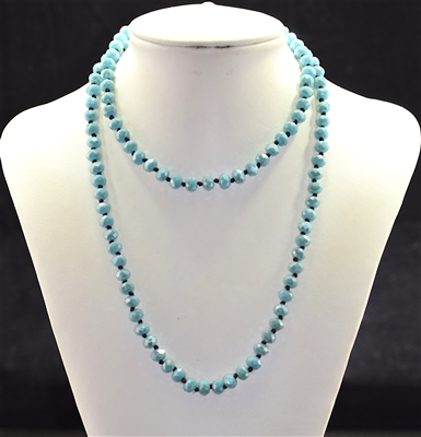 CN368GBT 36'' 8MM BLUE TURQUOISE CRYSTAL NECKLACE