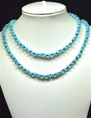 CN368GPB 36'' 8MM PASTEL BLUE CRYSTAL NECKLACE