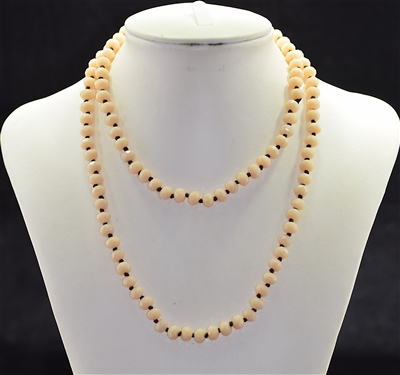CN368GPE 36'' 8MM PEACH CRYSTAL NECKLACE
