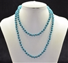 CN368GTQ 36'' 8MM TURQUOISE CRYSTAL NECKLACE