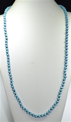 "CN368LB 36"" 8MM LIGHT BLUE GLOSSY MATTE NECKLACE"