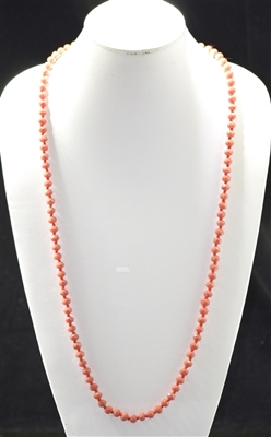 "CN368MCO 36"" 8MM MATTE CORAL CRYSTAL NECKLACE"