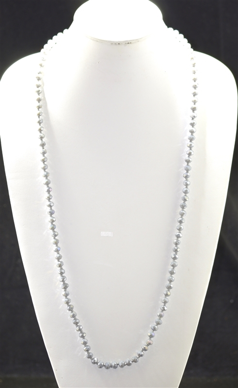 "CN368MGY 36"" 8MM MATTE GRAY CRYSTAL NECKLACE"