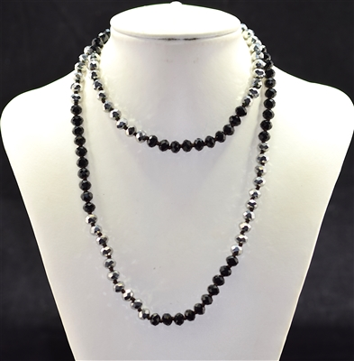 CN368SLBK 36'' 8MM SILVER & BLACK CRYSTAL NECKLACE